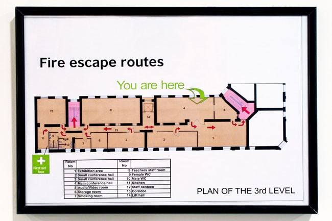 An image of a framed fire escape routes plan